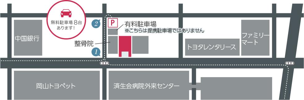 店舗と駐車場案内